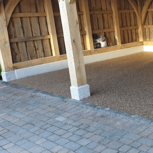 Brick paved drive and resin car port