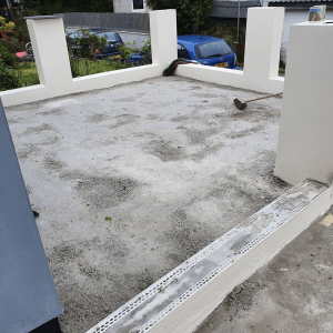 Prepping a patio area