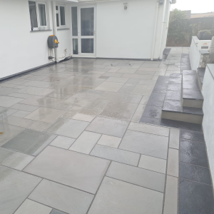 Patio with contrast edging and steps